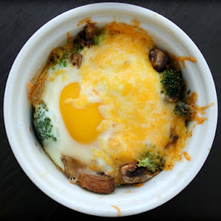 Baked Eggs with Broccoli, Mushrooms & Cheese