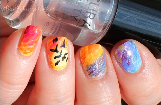 Flying Birds Sundown Nail Art 3
