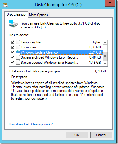 Windows Update cleanup deletes or compresses older versions of updates.