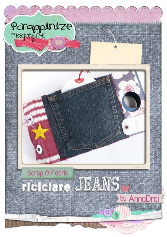 cafe creativo -  AnnaDrai - Riciclare Jeans - scrap - mini album scrap