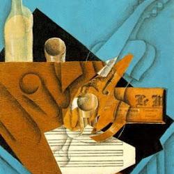 Juan Gris (1914): La mesa del músico. Collage. Colección Privada. New York. USA.