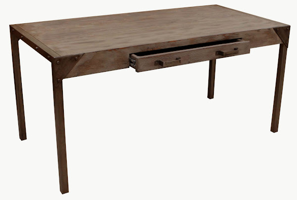 Urban DESK FULL FACE FRONT ARPON RECLAIMED DOUG FIR CUSTOM METAL INDUSTRIAL MORTISE TENON SIDE VIEW Reclaimed Wood Desk