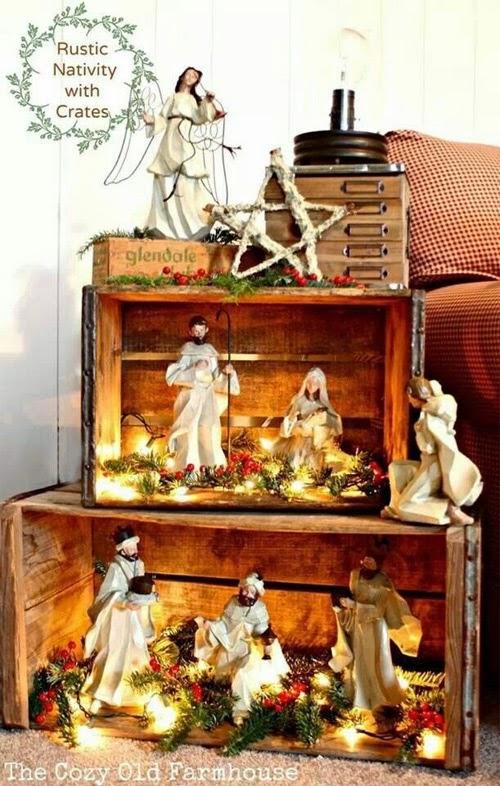 Presépios criativos - presépio de caixotes