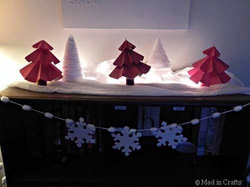 paper trees and snowflake garland