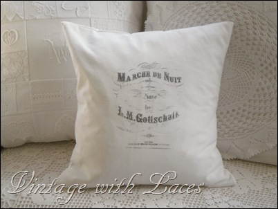 White pillow with French image
