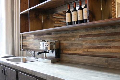The Backsplash: Other Than Tile from Thrifty Decor on wood for bathroom, wood for outdoor kitchen, wood for kitchen cabinets,