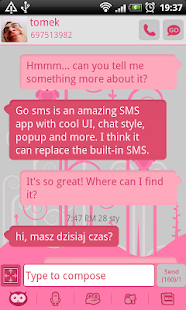 GO SMS Pro Pink Owl Theme - screenshot thumbnail
