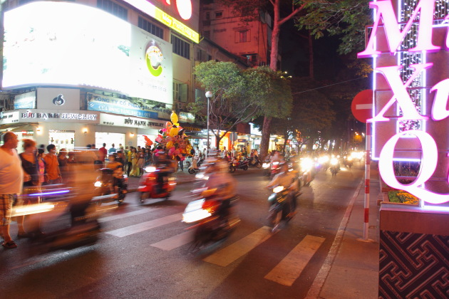 A District 1 night scene at Ho Chi Minh City, Vietnam