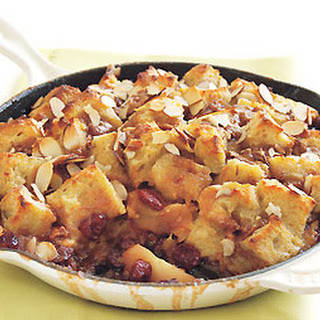 Apple and Dried Cherry Custard Bread Pudding.