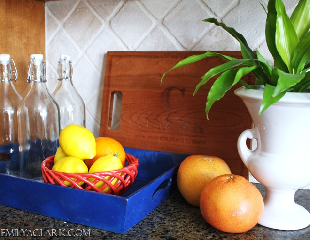 colorful accessories on kitchen countertops