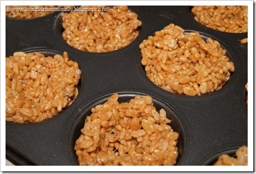 make rice krispie nests in muffin tin