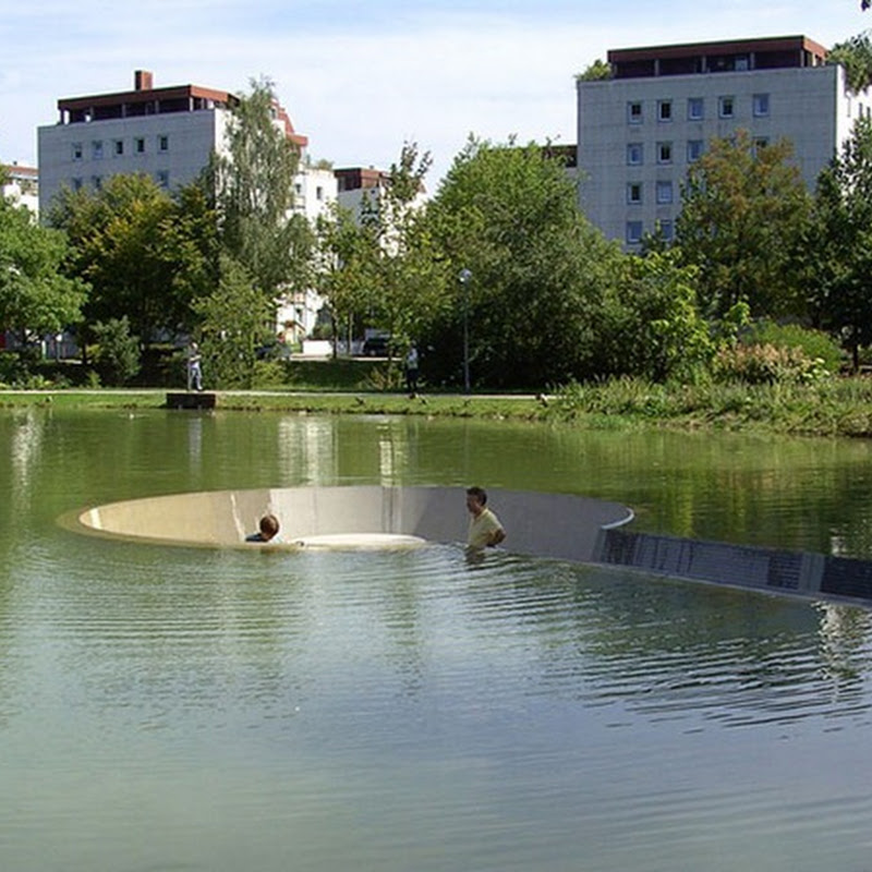 Sunken Observation Platform in the Middle of a Pond
