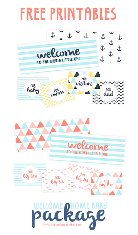 Free printables welcome home baby decorate package flaps