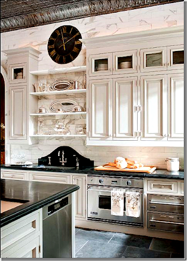 In Betty Lou Phillips Own Kitchen She Used White Carrara Marble Cut Into  Subway Tiles. She Then Mixed The Marble Subway Tiles With A Black Granite.