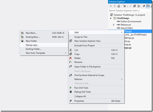First-Django-app-solution-explorer-visual-studio