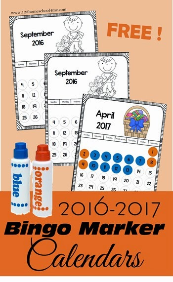FREE2016 - 2017 Bingo Marker Calendar perfect to track the school year and learn about months, days of the week, and year for toddler, preschool, prek, kindergarten, and first grade kids. (back to school, homeschool)