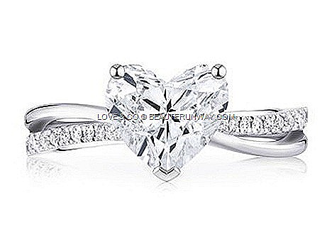 "Love & Co Lovemark LVC Precieux Heart shaped solitaire One pure, one pavé  twin split-bands intertwine with ""heart""_thumb[4]"