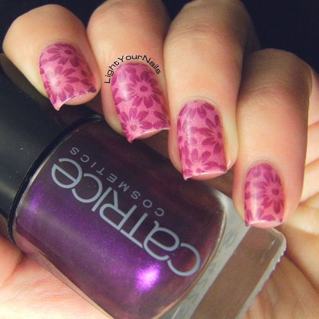 Pink stamping with BP-46 plate from BornPrettyStore
