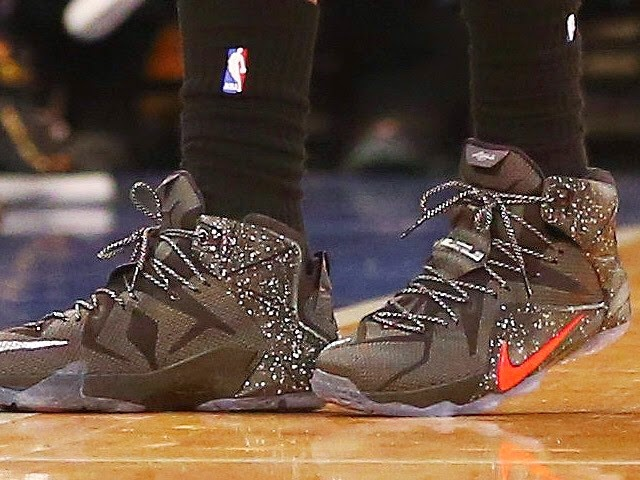 buy online c3115 69ddc ... LBJ Debuts Speckled Black amp Red Nike LeBron 12 PE at MSG ...