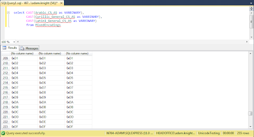 Bytes matching different collations in SQLserver