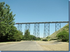 1641 Alberta Lethbridge - train on High Level Bridge from  Indian Battle Park
