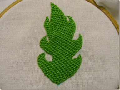 DBH leaf stitched on the bias