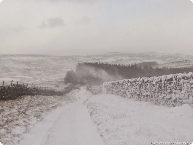 snow blowing over the wall - sedling rake