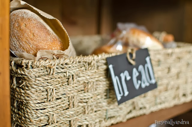 Toaster Tidy-Up | chalkboard tag on a basket for bread storage | personallyandrea.com