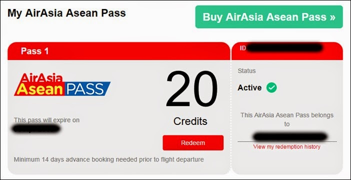 Redeeming an AirAsia Asean Pass