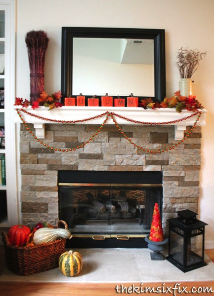 Stacked stone mantel