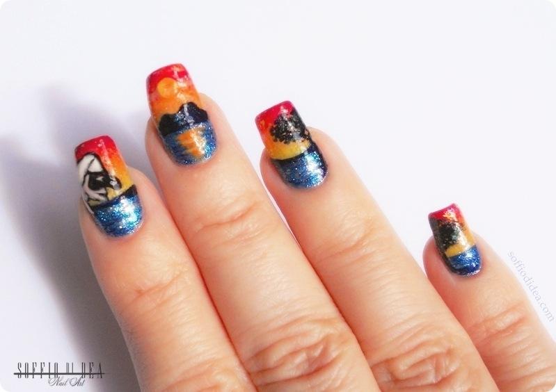 nail art - soffio di dea - tramonto sul vesuvio -2