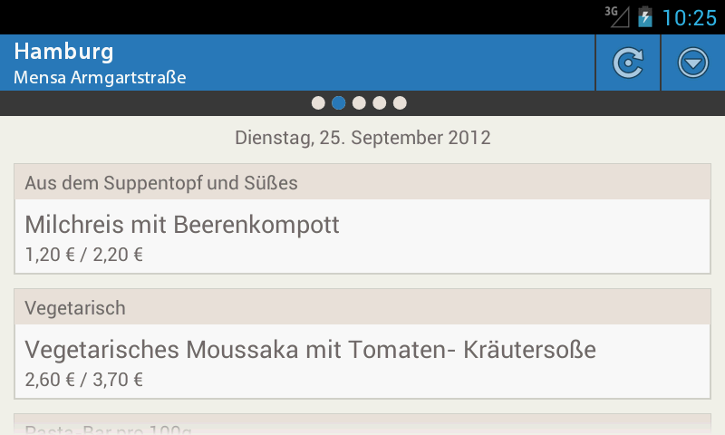 Mensa Hamburg - Uni HS FH TU - screenshot