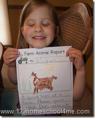 Preschool farm animal report