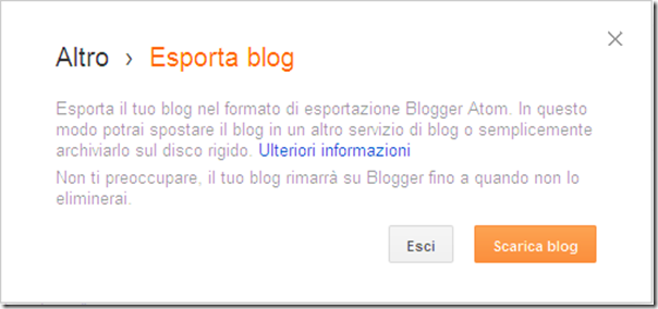 come fare copia backup sicurezza blog blogger