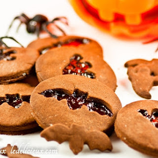 Chocolate Halloween cookies recipe with jam cut out