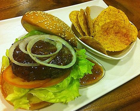 Charly T's CT's Beef Burger with Chips Nomu 112 Katong Salad bar juice drinks menu live soccer matches alfresco dining indoor