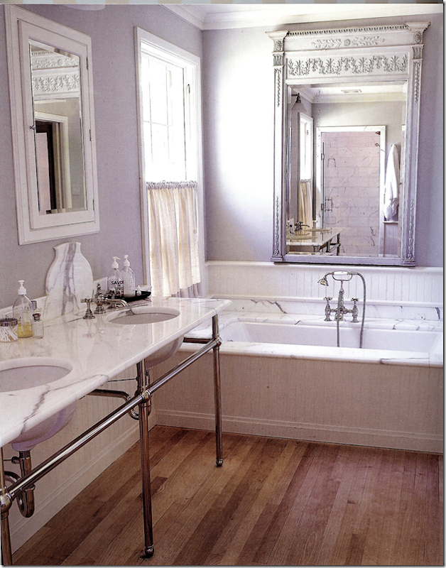 Classic marble bathroom with European Country Interior Design by Jane Moore.