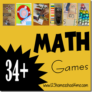 34+ Math Games for Kids - so many really fun and creative math games and math activities for kids preschool, prek, kindergarten, first grade, 2nd grade, 3rd grade, and 4th grade kids.