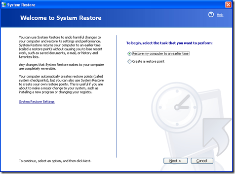 Welcome System Restore