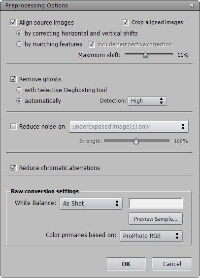Photomatix Prerocessing Options Dialog (No noise reduction)