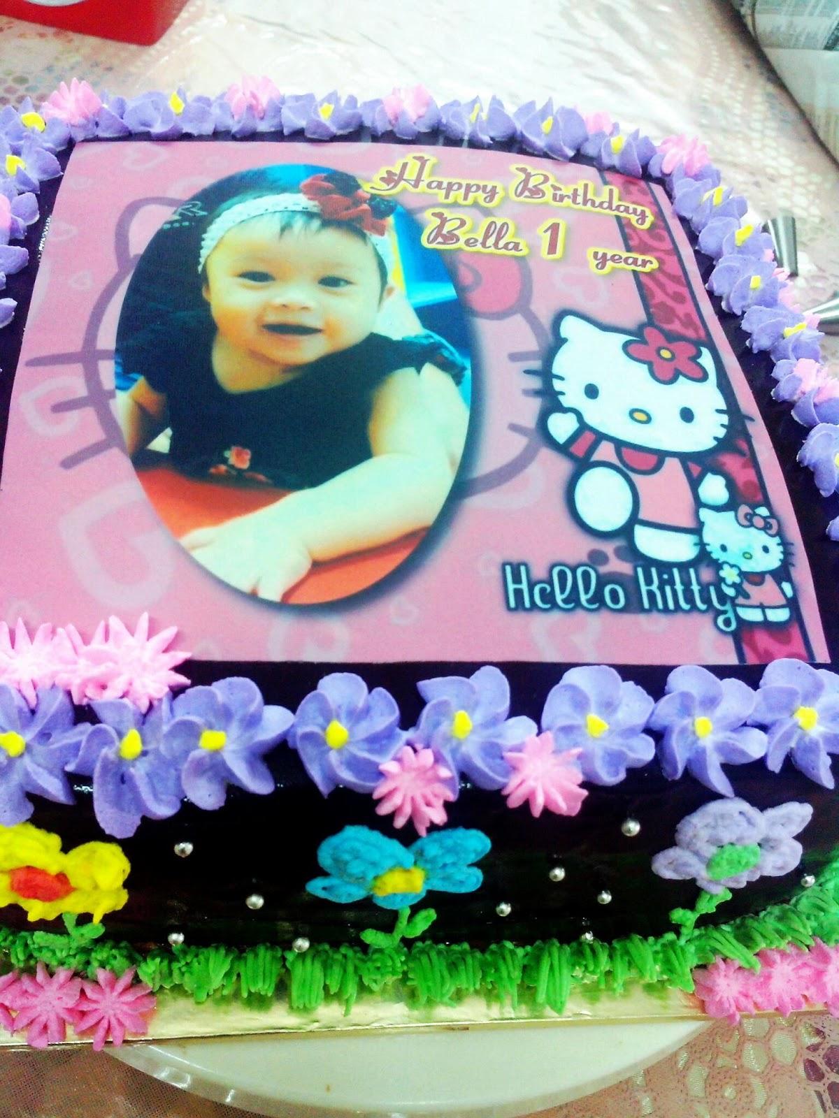 Terima Kasih Ely Order Untuk Kek Harijadi Anak Bongsu Nya Bella Yang Ke 1 Tahun Edible Image Hello Kitty 2kg Chocolate Indulgence Cake
