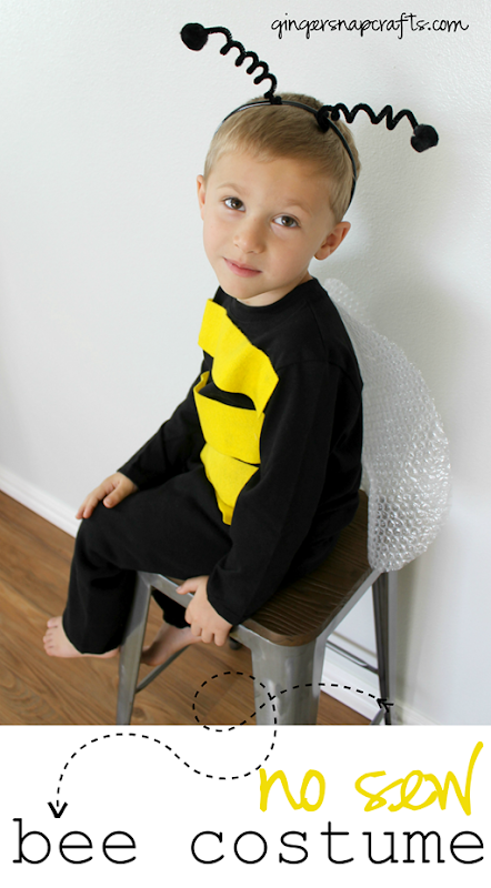 No Sew Bee Costume at GingerSnapCrafts.com #DIYCostumes #Halloween #bloghop