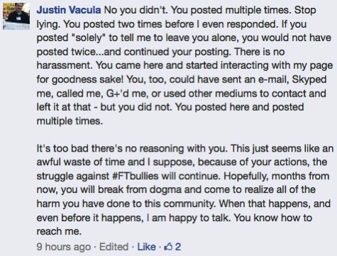 Justin responds again