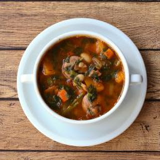 White Bean Soup with Sausage, Ham, Squash, and Spinach