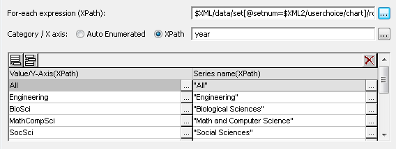 Updated XPath in the chart settings dialog
