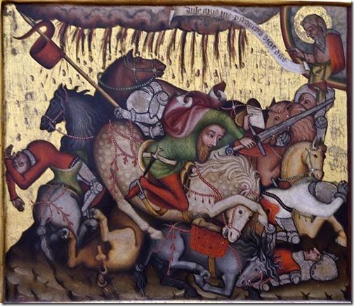 Eine mittelalterliche Darstellung auf Goldgrund: Ein Reiter mit Schwert und Freibrief - um ihn herum tote Ritter und sterbene Pferde