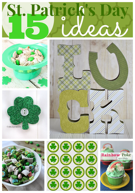15 St. Patrick's Day Ideas at GingerSnapCrafts.com #StPatricksDay #green #linkparty #features