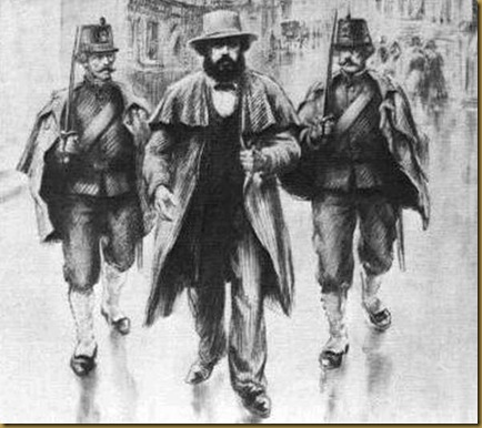 Karl Marx arreted in Brussels, 1840s