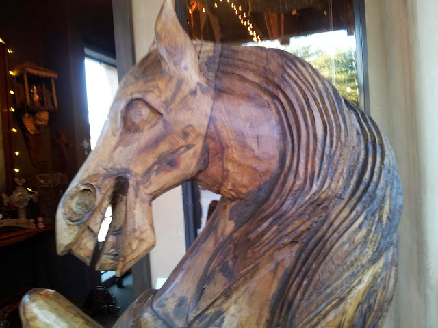 # laughing horse, #woodencarvedhorse