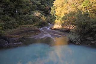 ダム湖に流れ込む沢の水